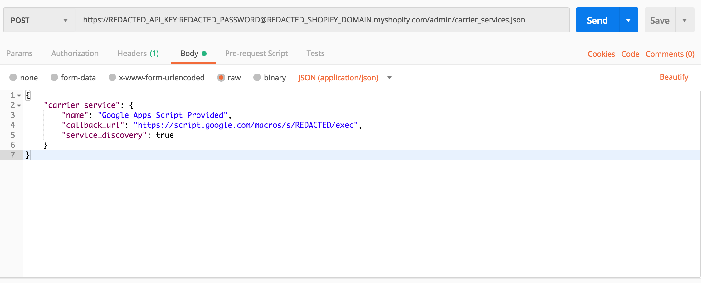 Generating Shopify shipping rates from Google Apps Script